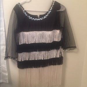Dresses & Skirts - VINTAGE BLACK White Sequin Mesh  FLAPPER DRESS M